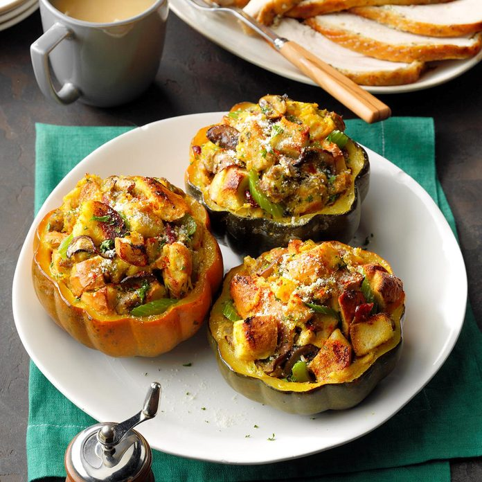 Acorn Squash with Leftover Stuffing