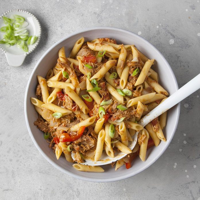 Barbecue Pork and Penne Skillet