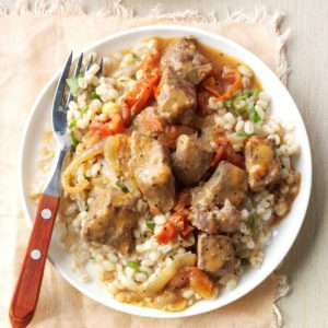 Barley Risotto and Beef Stroganoff