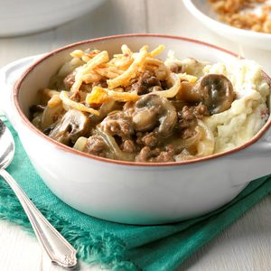 Beef and Mushrooms with Smashed Potatoes