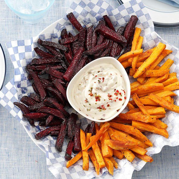 Beet and Sweet Potato Fries