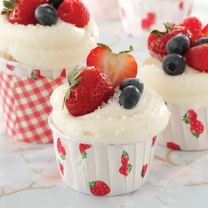 Berry-Topped White Cupcakes