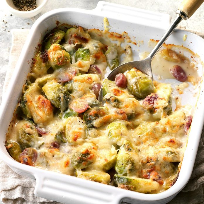 Brussels Sprouts and Grapes au Gratin