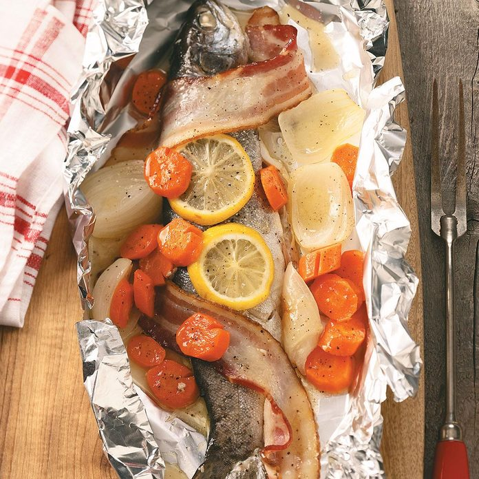 Grilled Campfire Trout Dinner