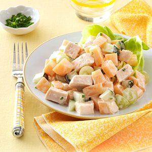 Cantaloupe Chicken Salad with Yogurt Chive Dressing