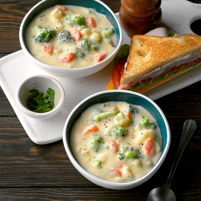 Cauliflower Broccoli Cheese Soup
