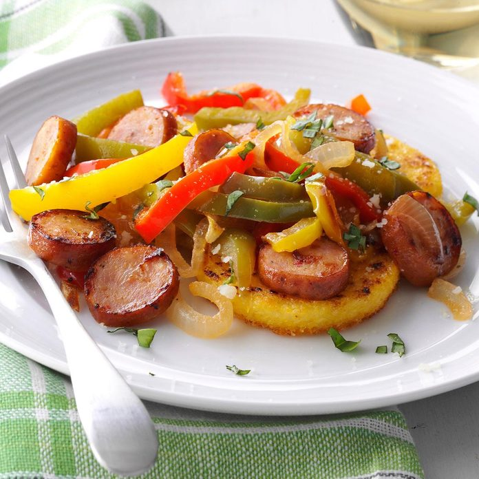 Chicken Sausages with Polenta