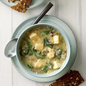 Chicken Wild Rice Soup with Spinach
