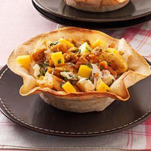 Chicken and Mango Tortilla Bowls