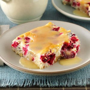 Cranberry-Walnut Cake with Butter Sauce