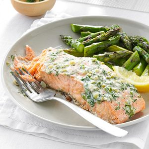 Creamy Herb Grilled Salmon
