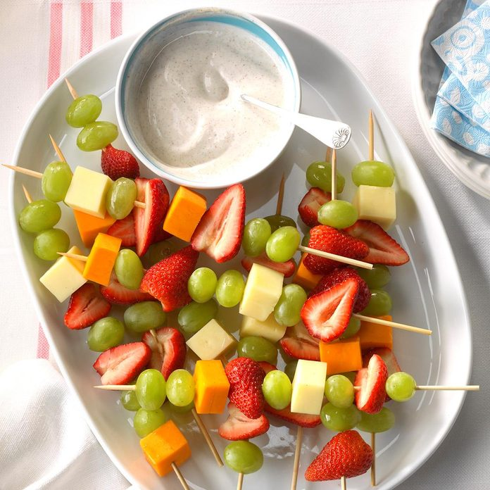 Day 1 Snack:  Fruit and Cheese Kabobs
