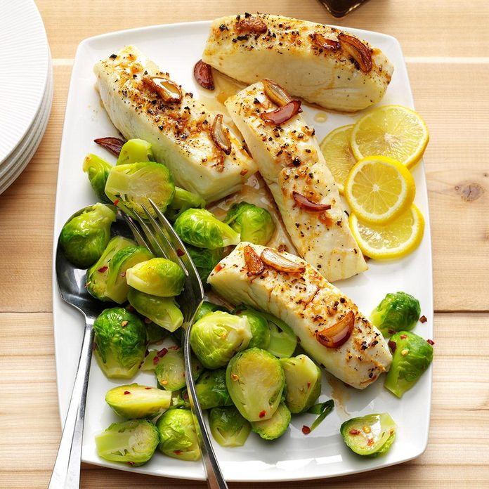 Ginger Halibut with Brussels Sprouts