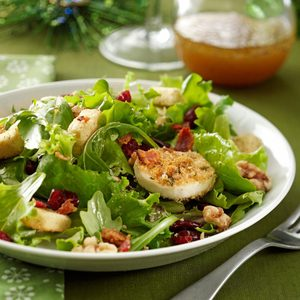 Green Salad with Baked Goat Cheese