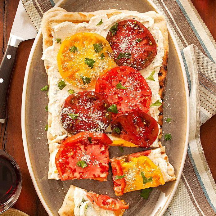 Inspired by: Cheesecake Factory Fresh Basil, Tomato & Cheese Flatbread