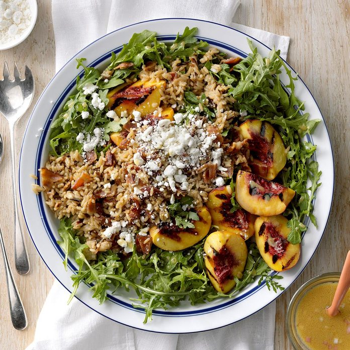 Day 13: Grilled Peach, Rice & Arugula Salad