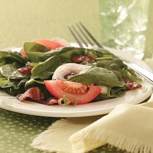 Hot Bacon Spinach Salad