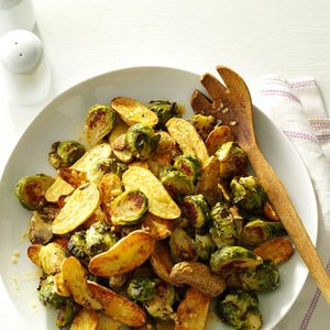 Lemon Roasted Fingerlings and Brussels Sprouts