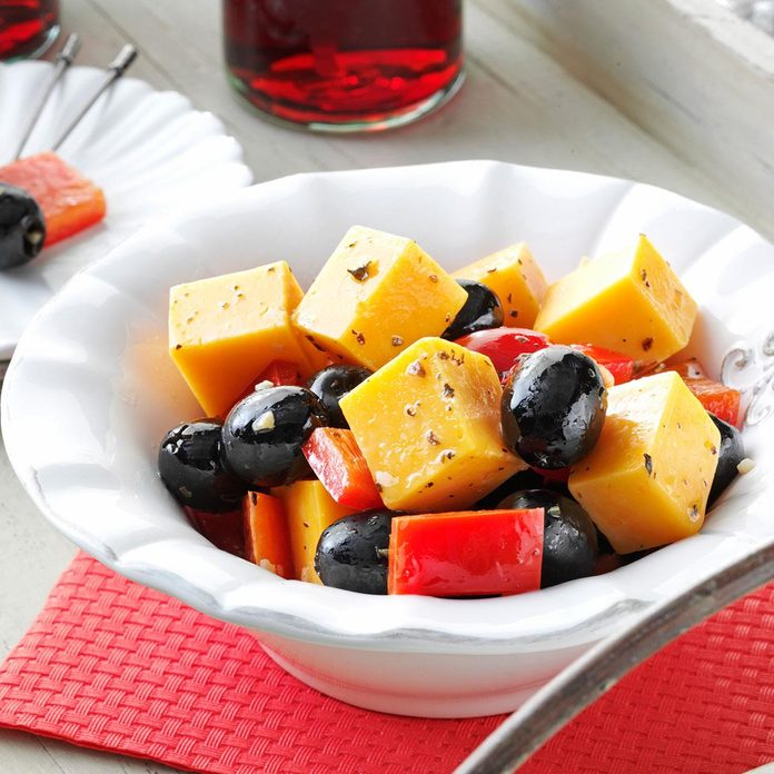 Marinated Cheese with Peppers and Olives
