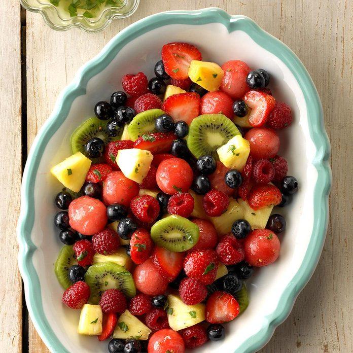Mixed Fruit with Lemon-Basil Dressing