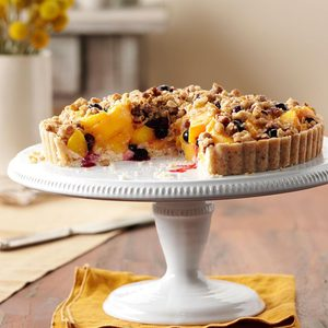 Peach-Blueberry Crumble Tart