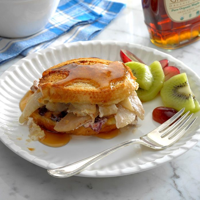 Pear-Stuffed French Toast with Brie, Cranberries & Pecans