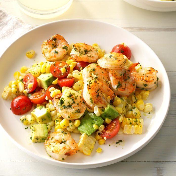 Pesto Corn Salad with Shrimp