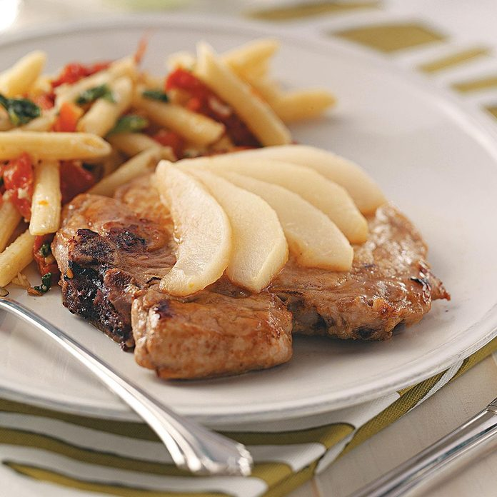 Pork Chops with Sliced Pears
