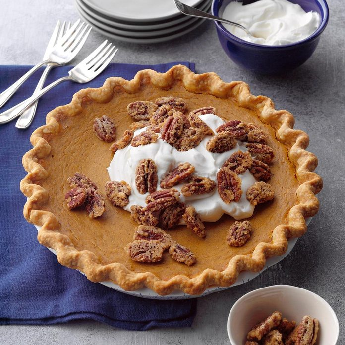 Pumpkin-Sweet Potato Pie with Sugared Pecans