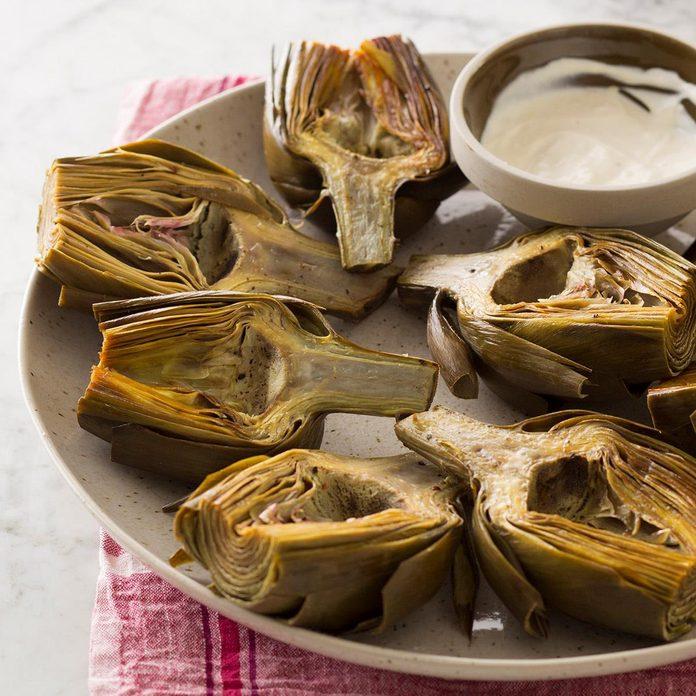 Roasted Artichokes with Lemon Aioli