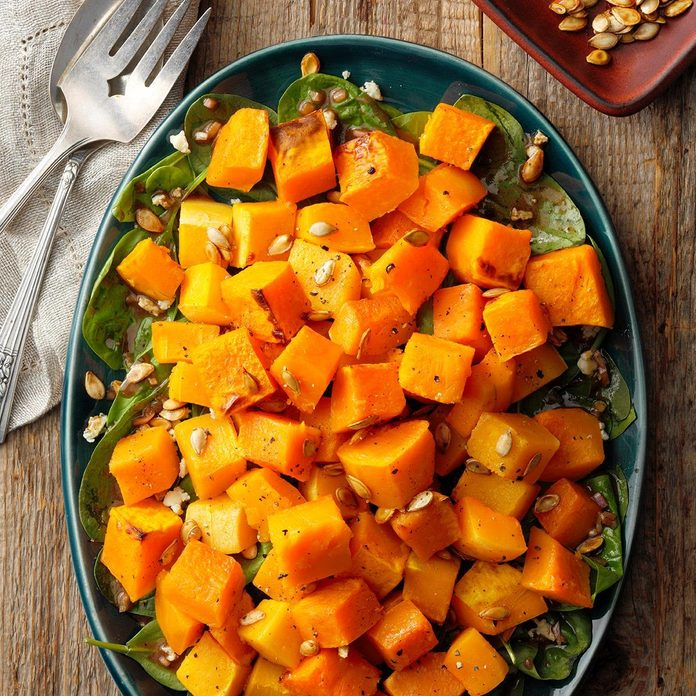 Roasted Butternut Squash Salad with Caramelized Pumpkin Seeds