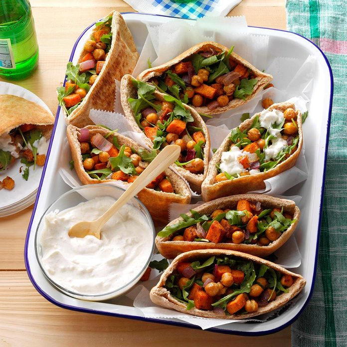 Day 4 Lunch: Roasted Sweet Potato & Chickpea Pitas