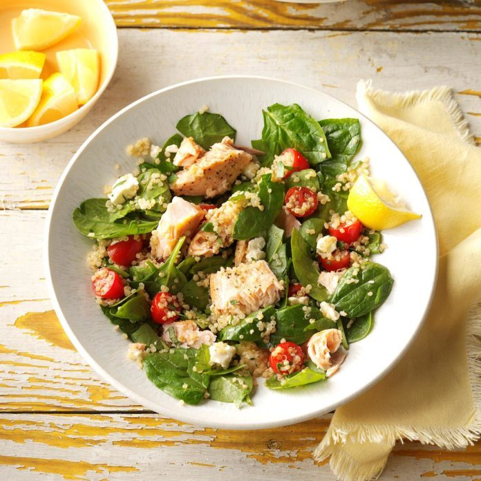 Salmon & Feta Wilted Spinach Salad