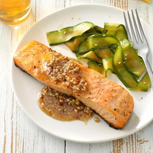Salmon with Honey Pecan Sauce