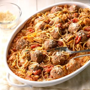 Spaghetti & Meatball Skillet Supper