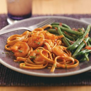 Spicy Tomato Shrimp Fettuccine