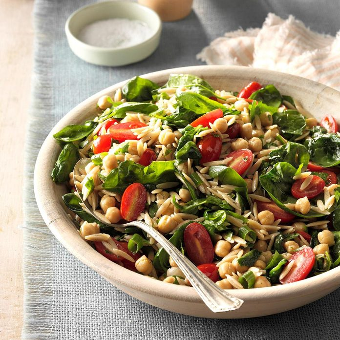 Spinach-Orzo Salad with Chickpeas