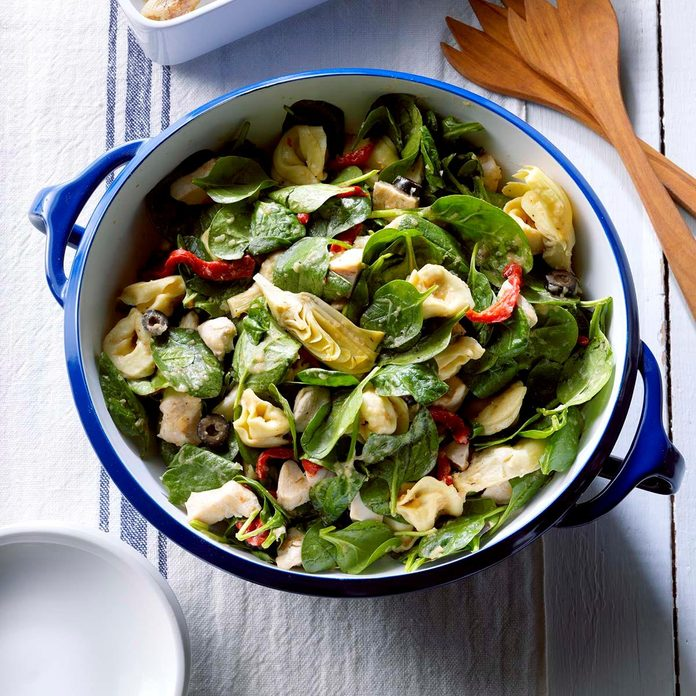 Spinach Salad with Tortellini & Roasted Onions