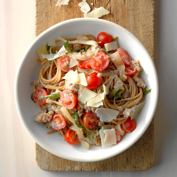 Sweet Onion & Sausage Spaghetti