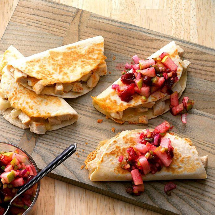 Turkey Quesadillas with Cranberry Salsa