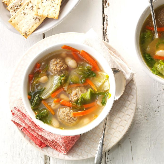 White Bean Soup with Meatballs