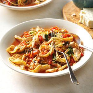 Grecian Pasta & Chicken Skillet