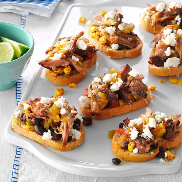Southwestern Pulled Pork Crostini