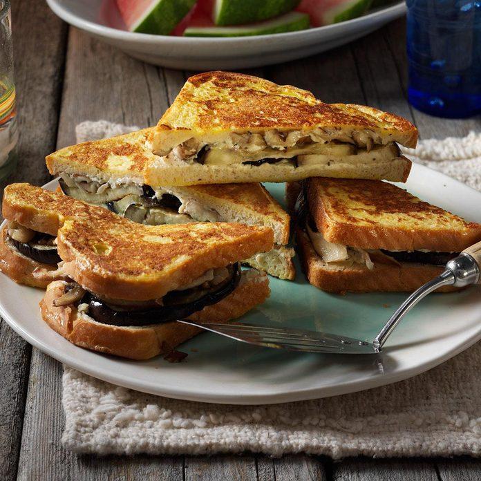 Creamy Eggplant & Mushroom Monte Cristo