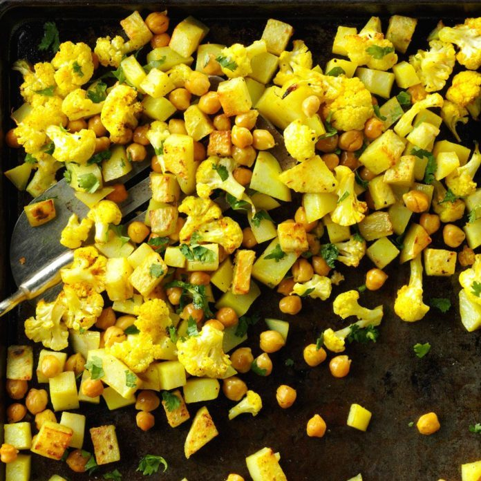 Roasted Curried Chickpeas and Cauliflower
