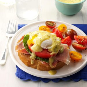 Italian Eggs Benedict with Pesto Hollandaise
