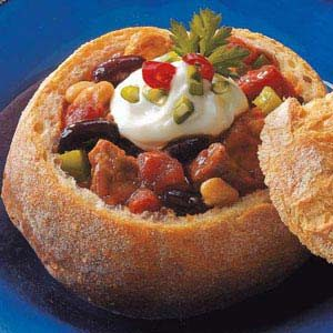 Chili in Bread Bowls