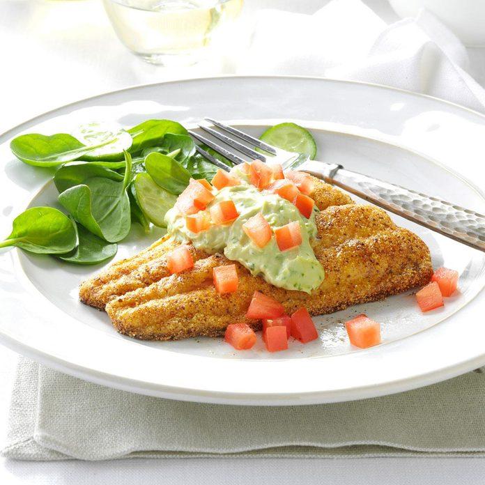 Cornmeal Catfish with Avocado Sauce
