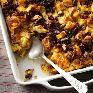 Eggnog Bread Pudding with Cranberries