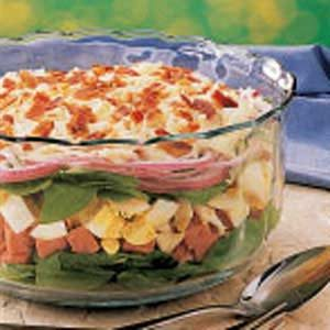 Layered Ham and Spinach Salad